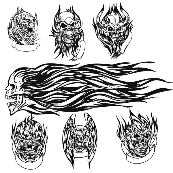 brush photoshop dessin skull tattoo brushes par princevj1986 brush