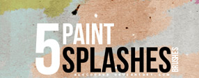 Paint splashes brushes